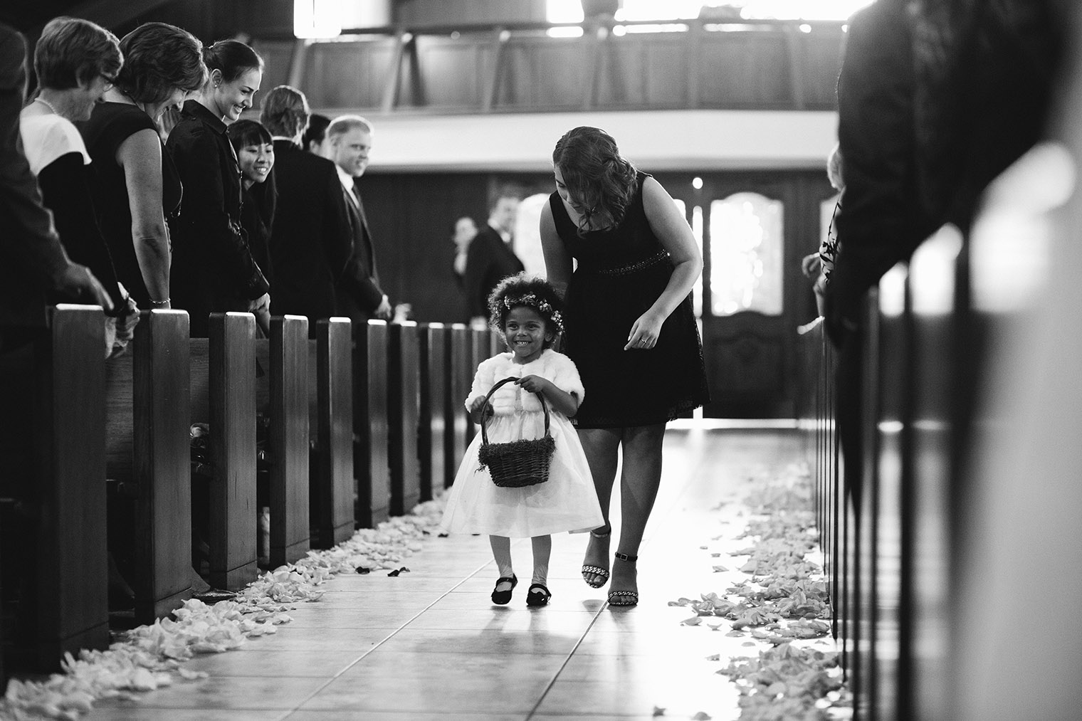 flower girl at catholic church in calistoga