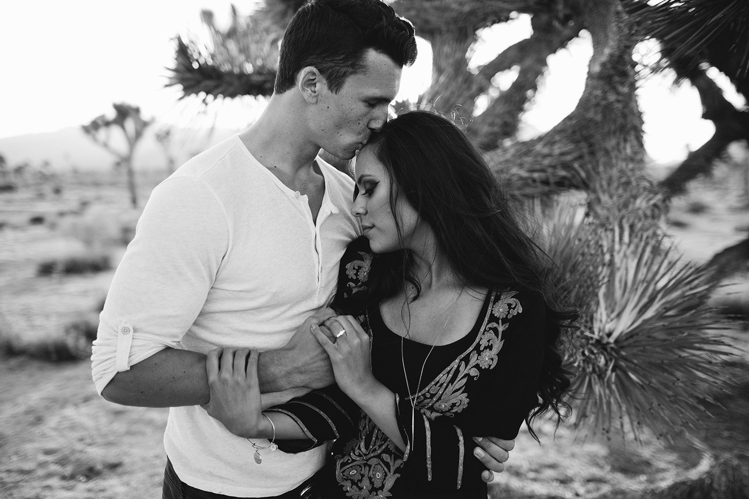 joshua tree engagement session bw_20