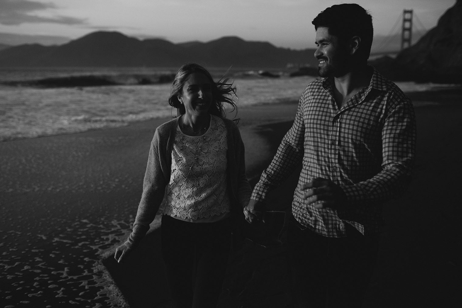 baker beach engagement session bw_159