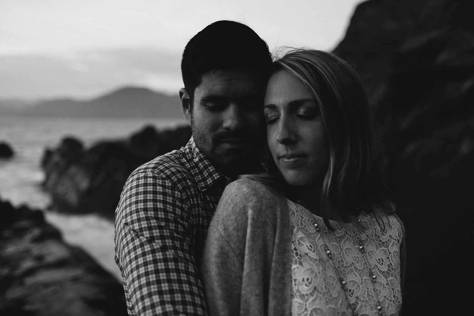 baker beach engagement session bw_173