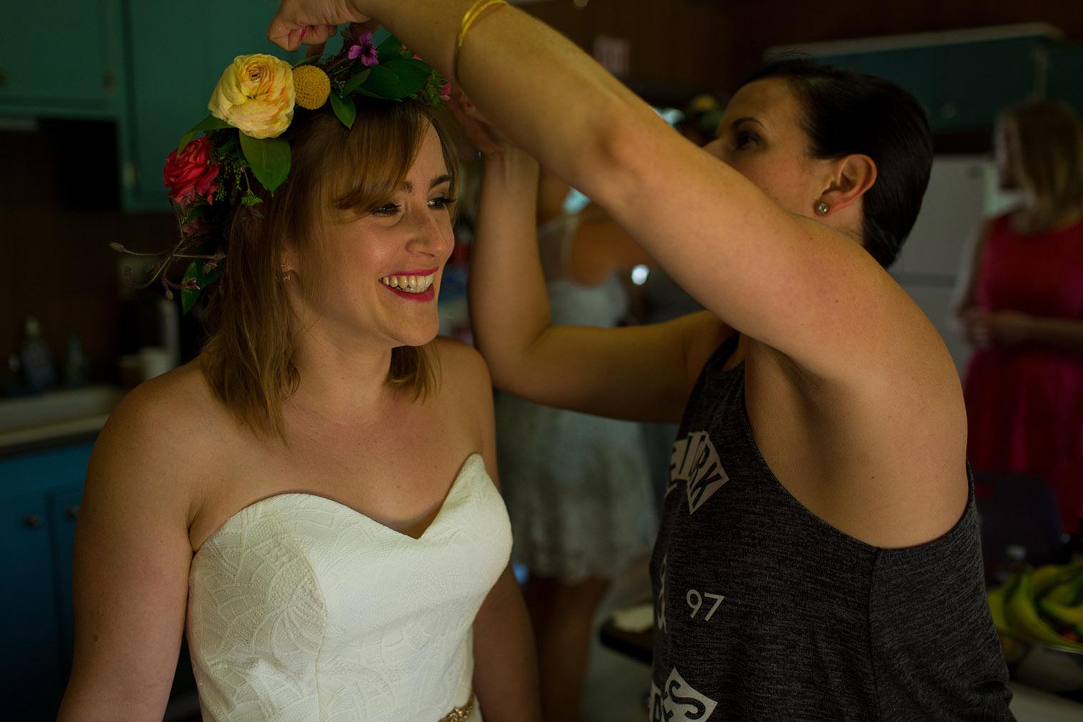 camp wedding bride getting ready