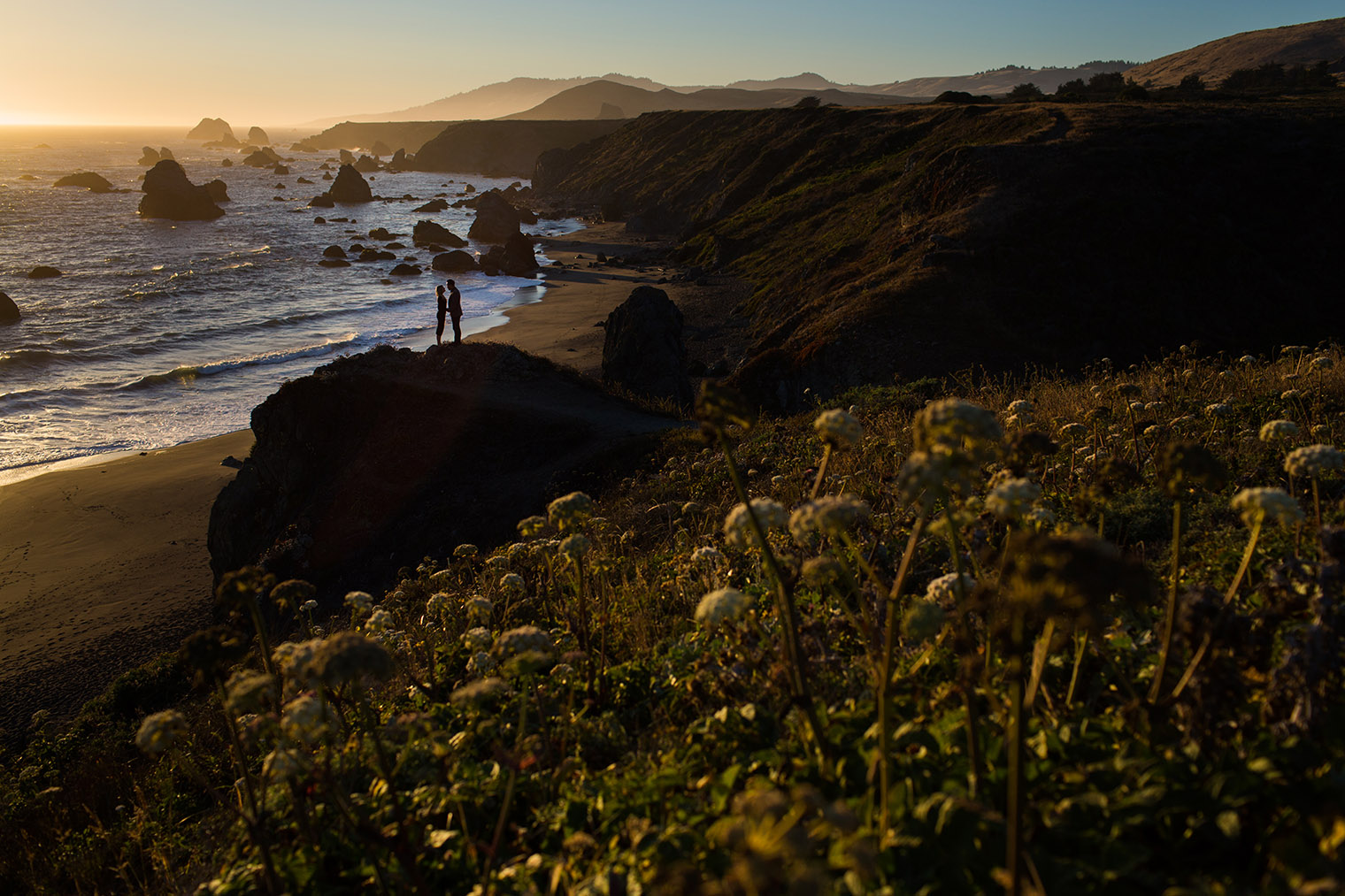 sonoma coast state park engagement photos at sunset
