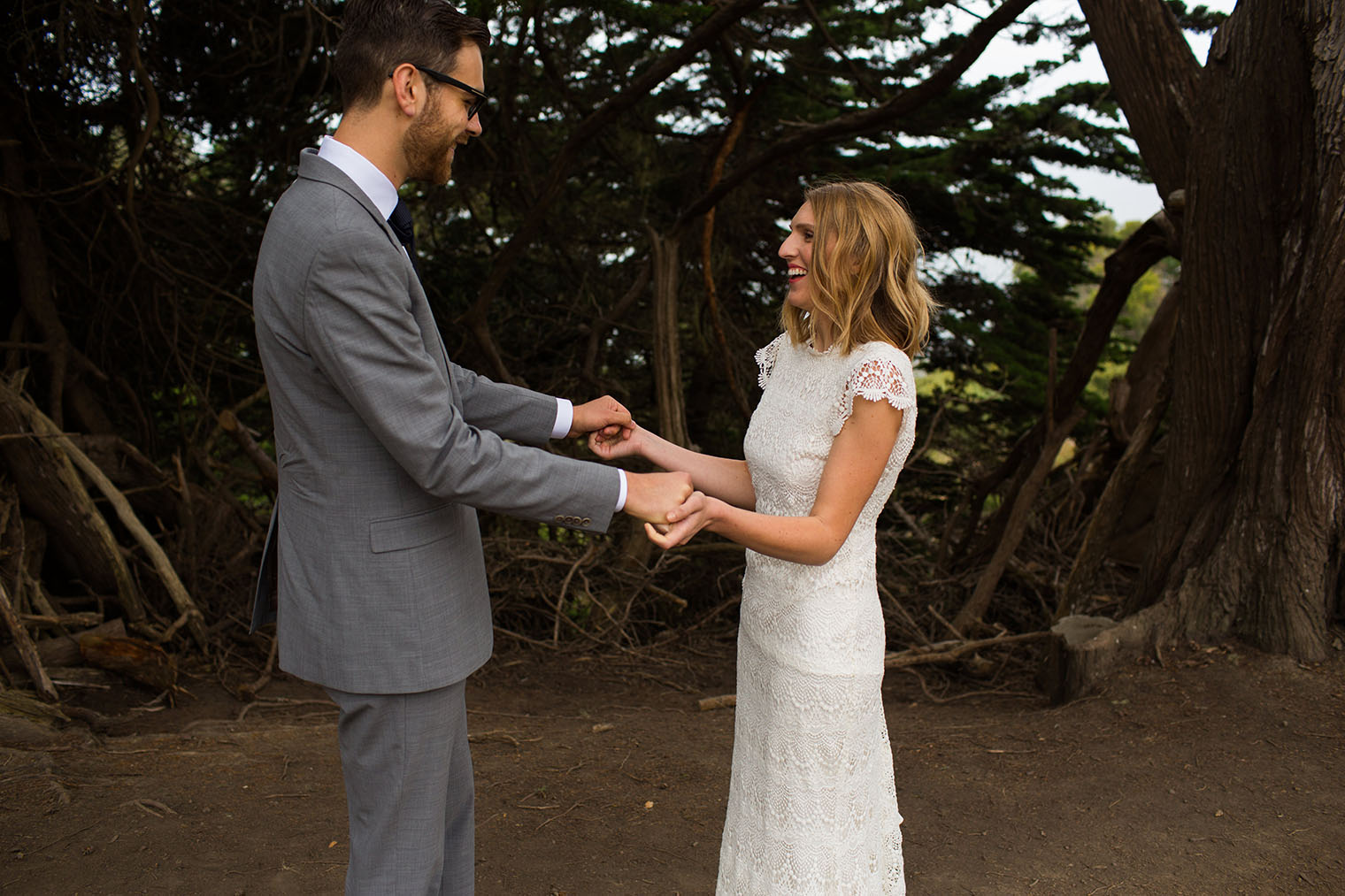 1st look at slide ranch camp wedding