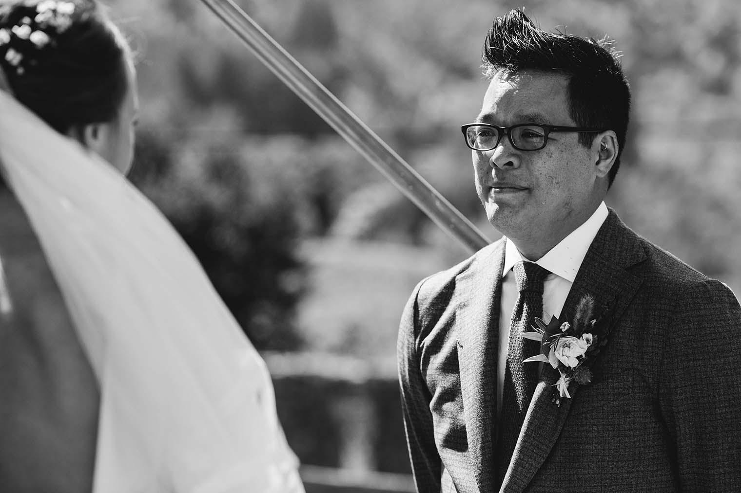 groom at jack london state historic park wedding ceremony