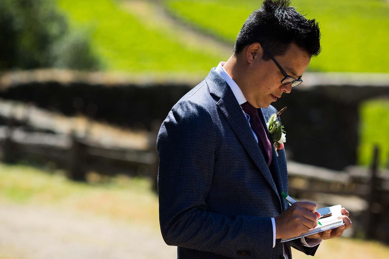 groom at wedding ceremony in sonoma