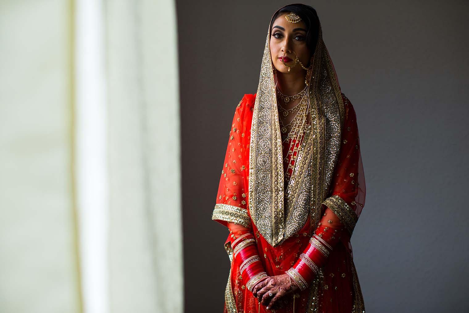 Bride Portrait at Gurdwara Sahib of Fremont