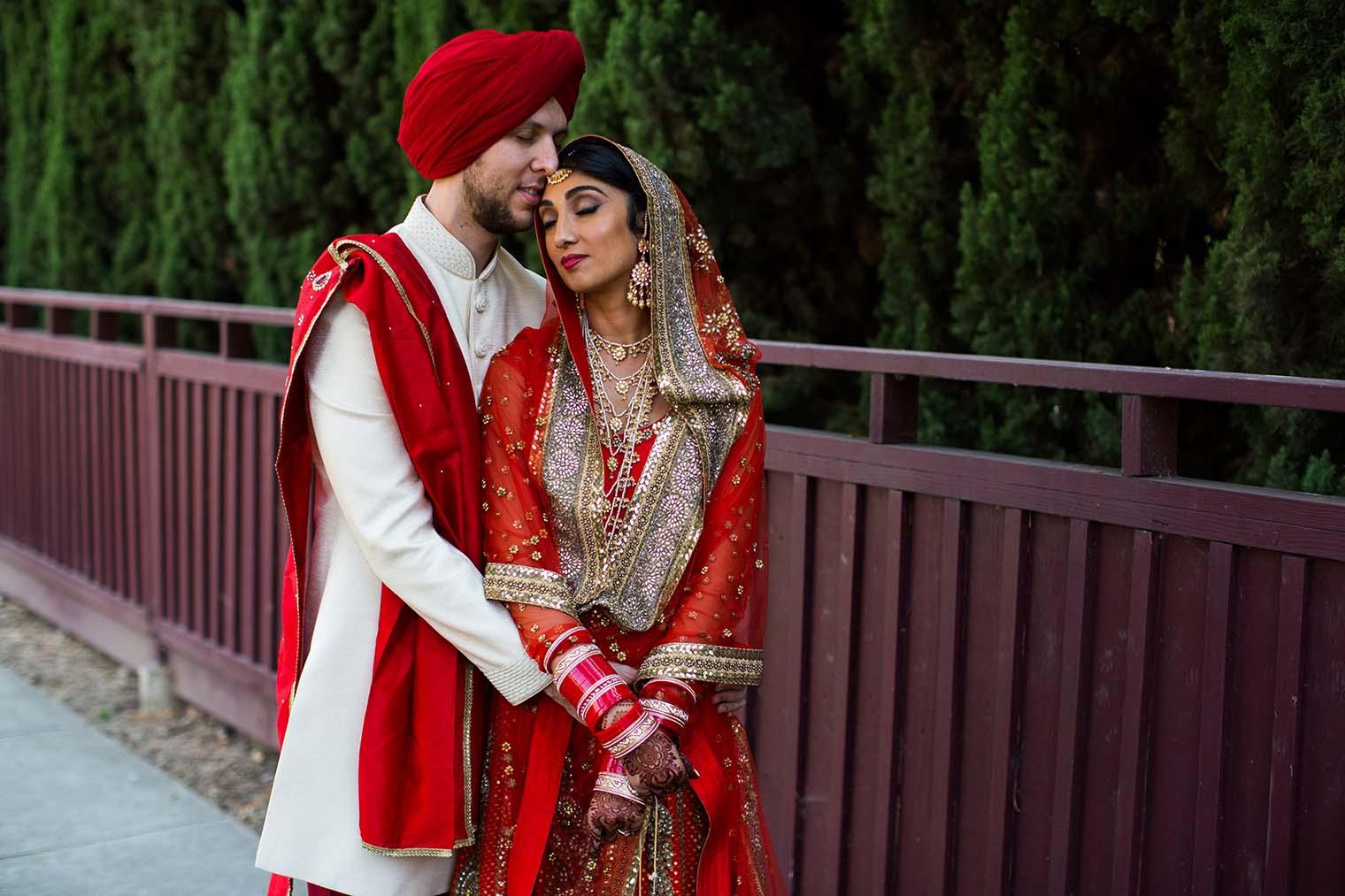 Indian Bride and Groom Portraits at Gurdwara Sahib of Fremont