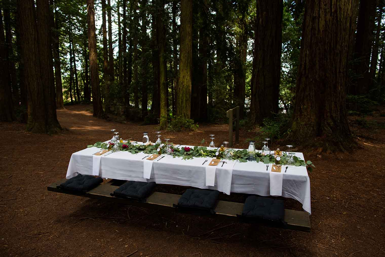 Wedding Table Details at Roberts Regional Park in Oakland California