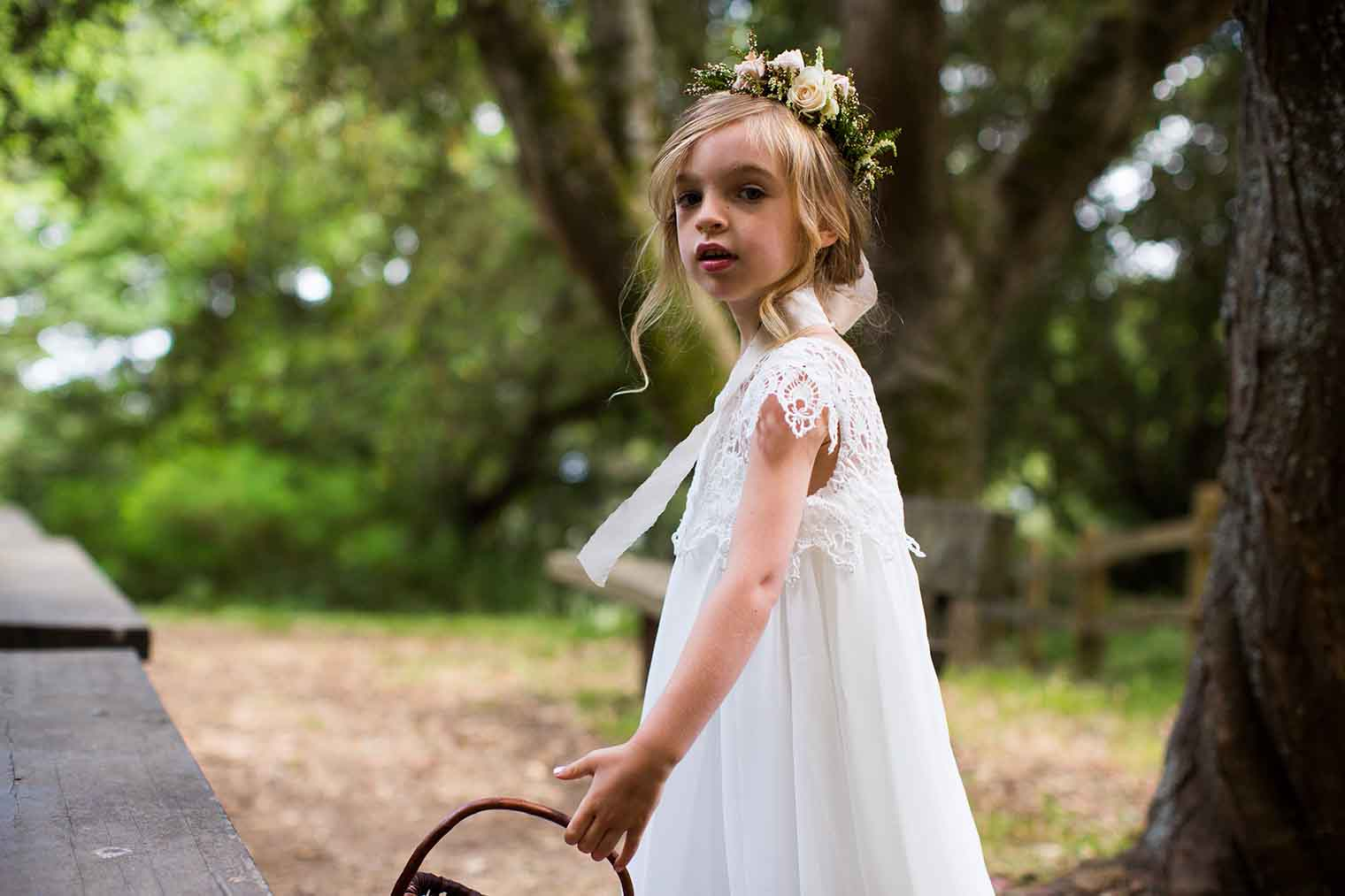 Flower Girl at Roberts Regional Park Wedding in Oakland