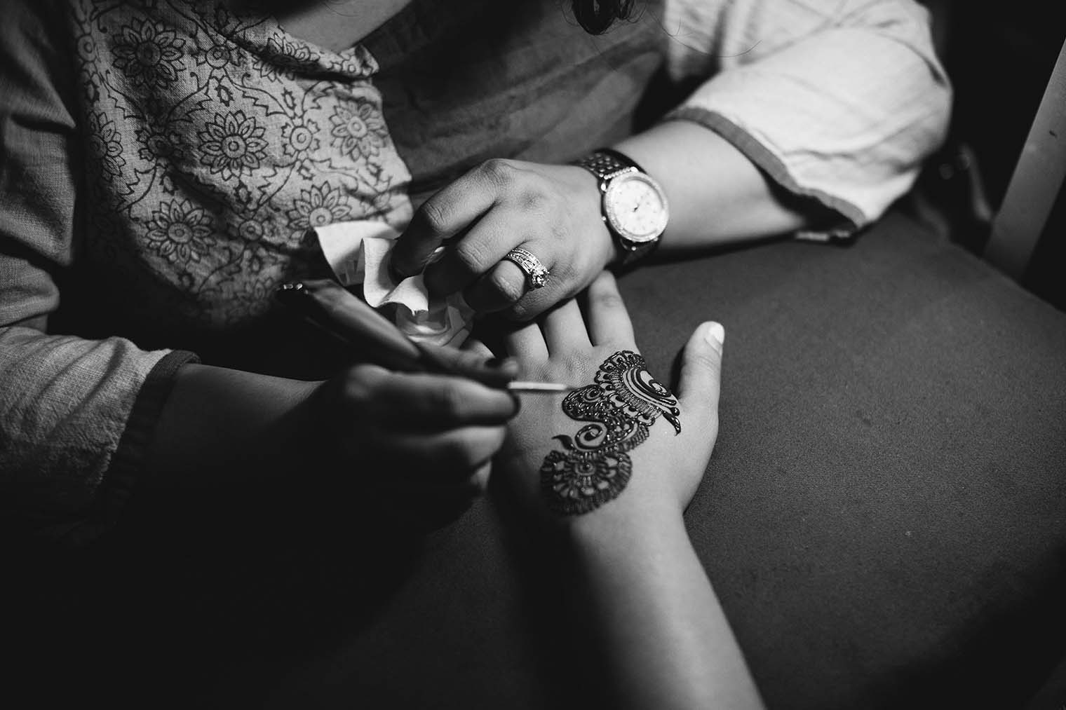 Henna being done at Indian Wedding