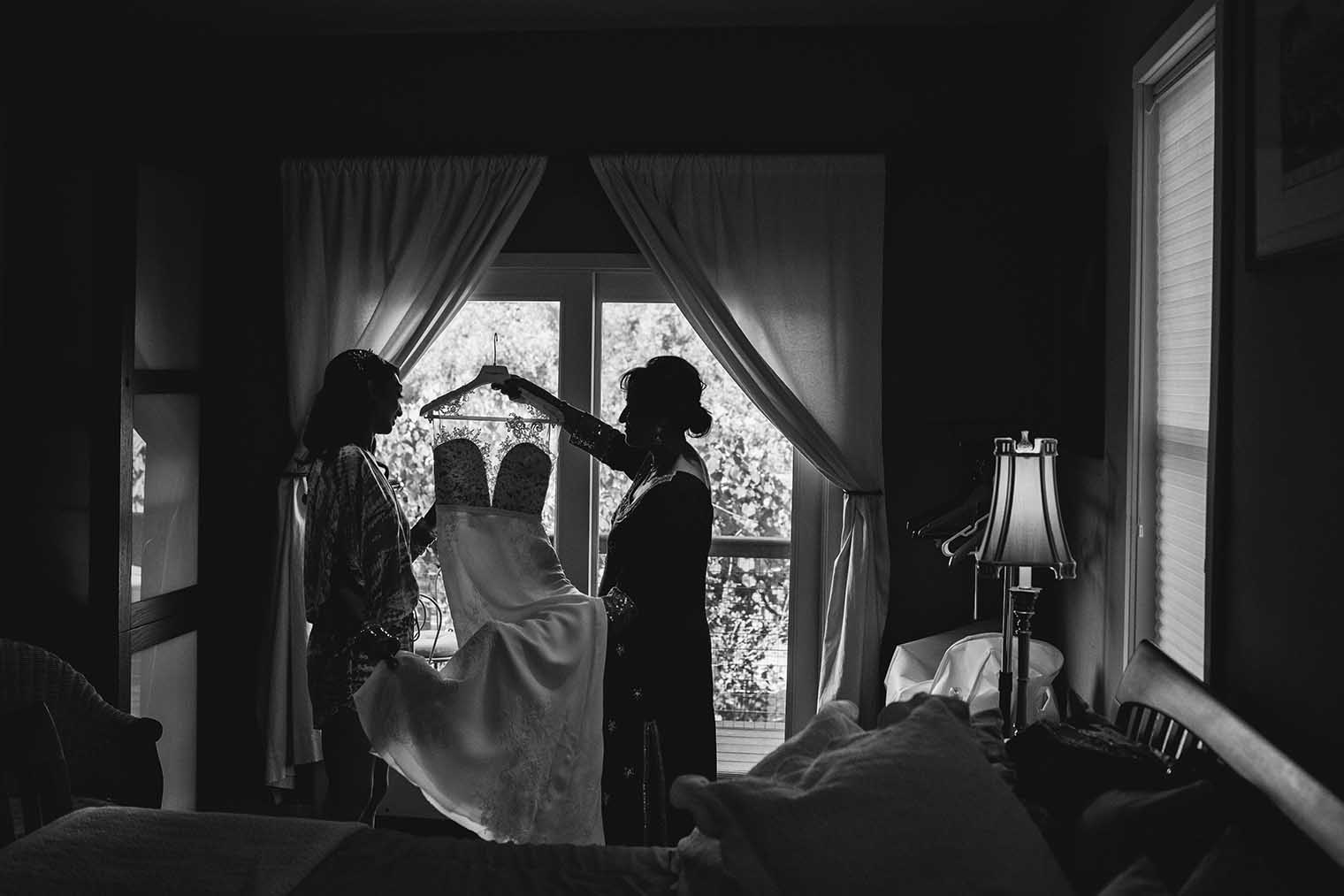 Mother and Bride with Wedding Dress in Napa, CA