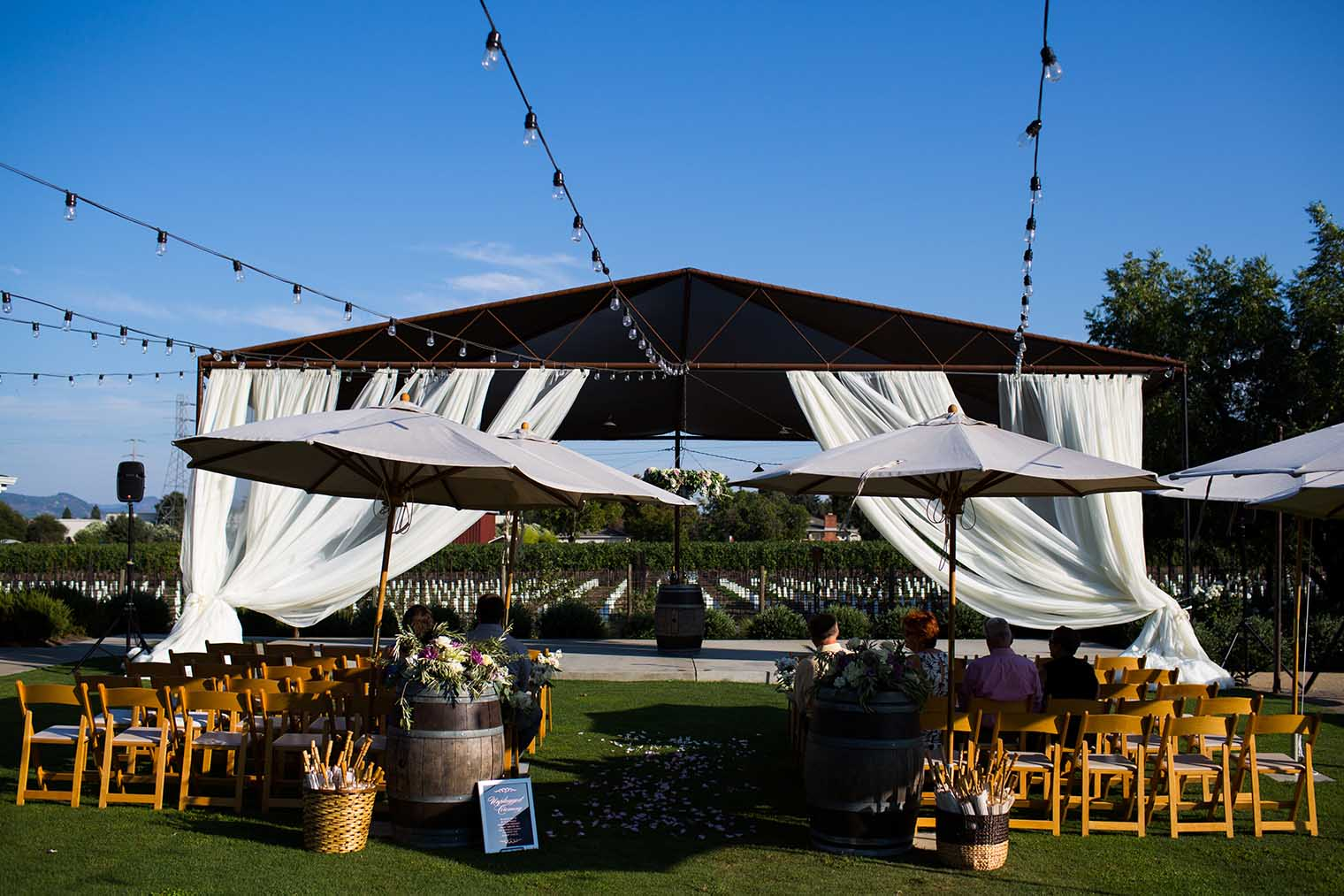 farmstead at long meadow ranch wedding ceremony details