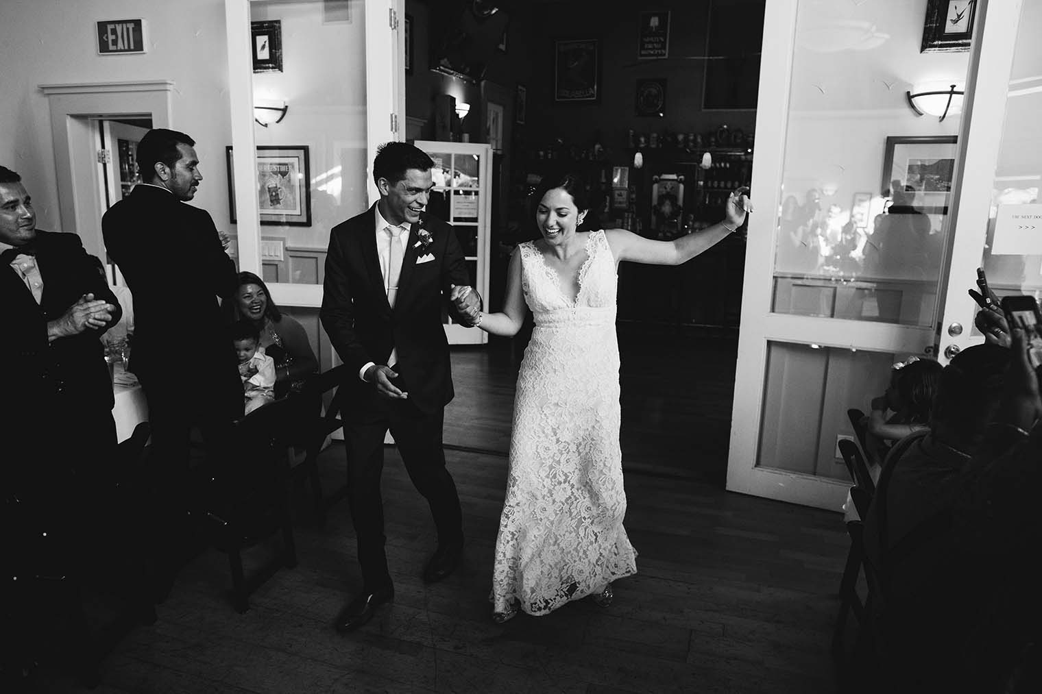 bride and groom entrance at Highland Dell Lodge wedding