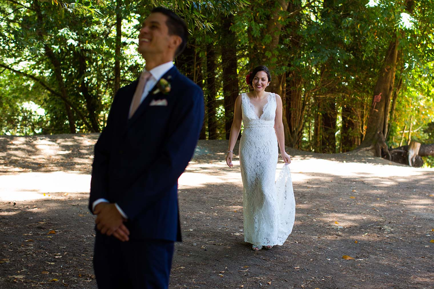 bride and groom first look near Russian River