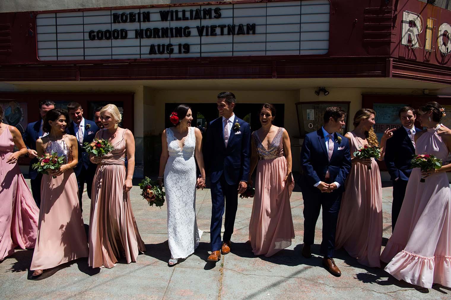 bridal party outside monte rio movie theatre