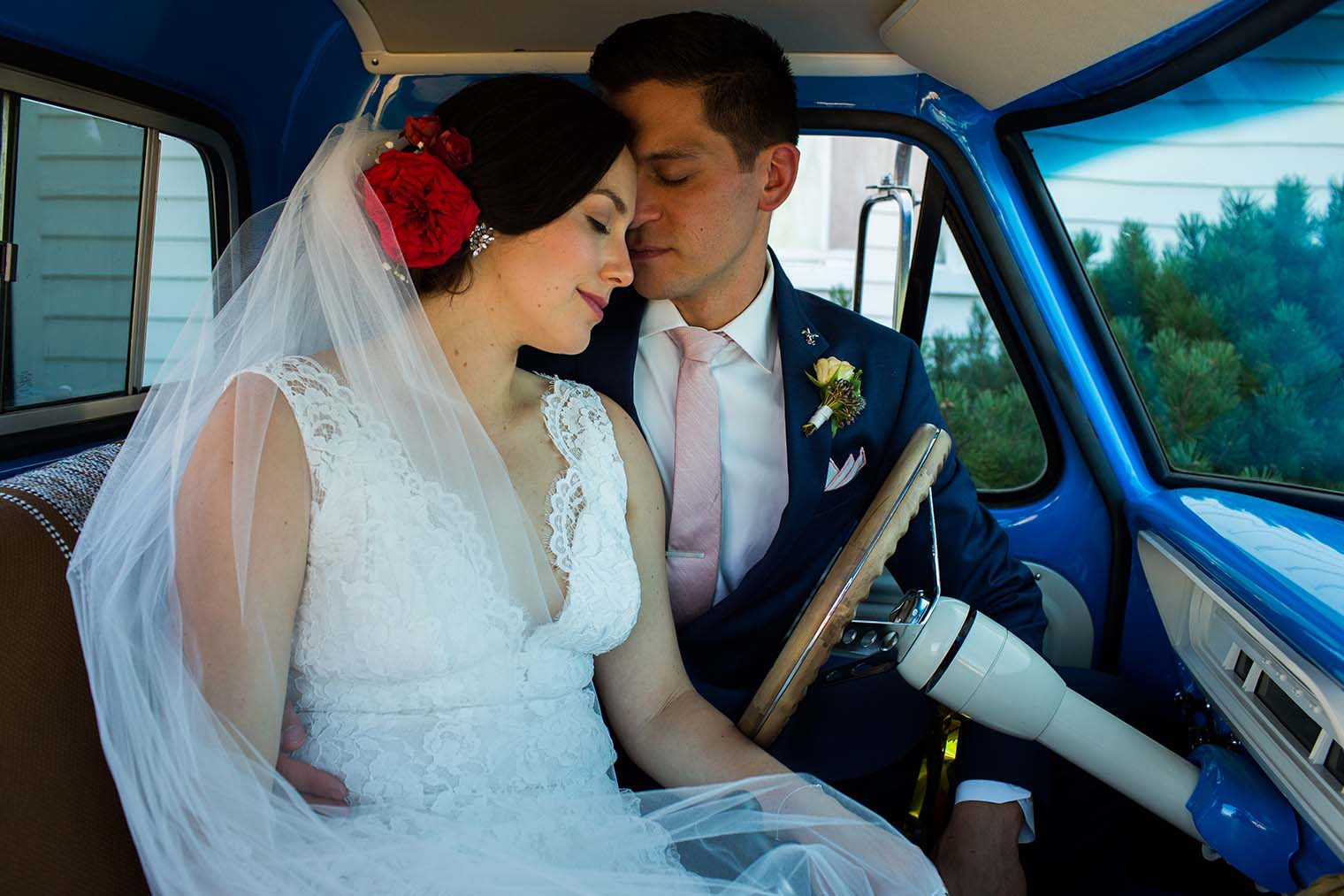 bride and groom at Saint Teresa of Avila Church