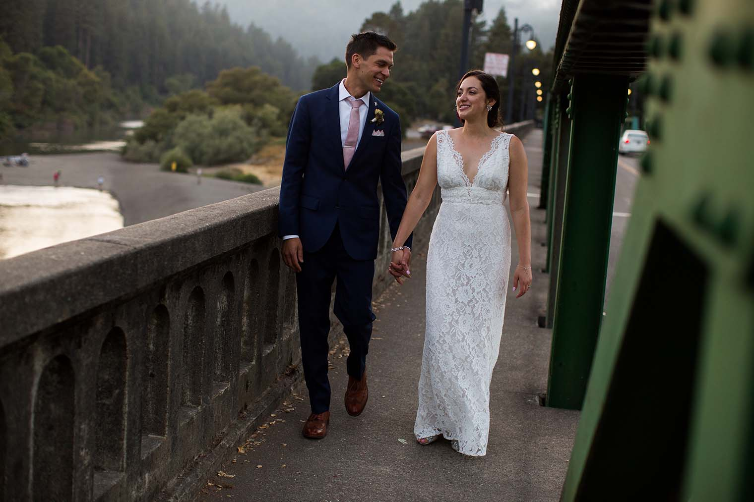 bride and groom on russian river