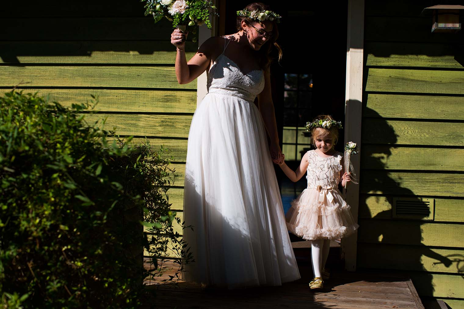 Bride and Flower Girl at Wild Iris Retreat