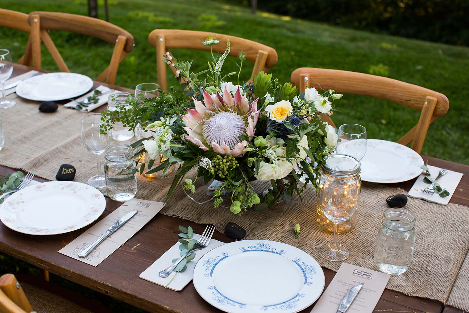 Wedding Reception Details at Wild Iris Retreat