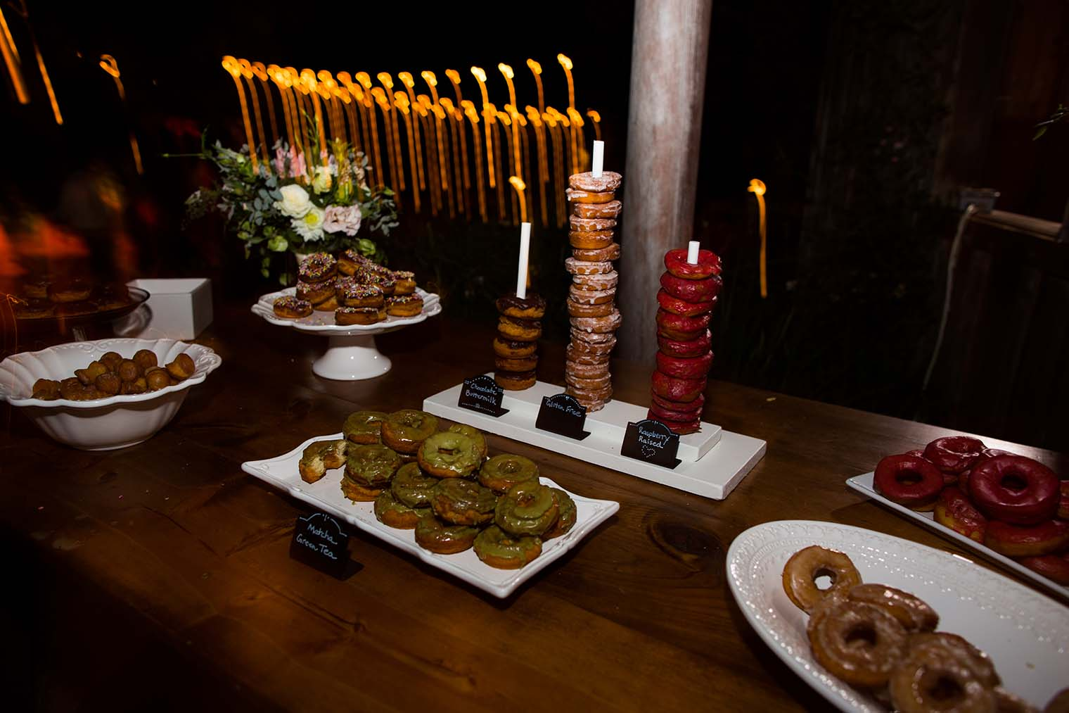donuts at wild iris retreat wedding