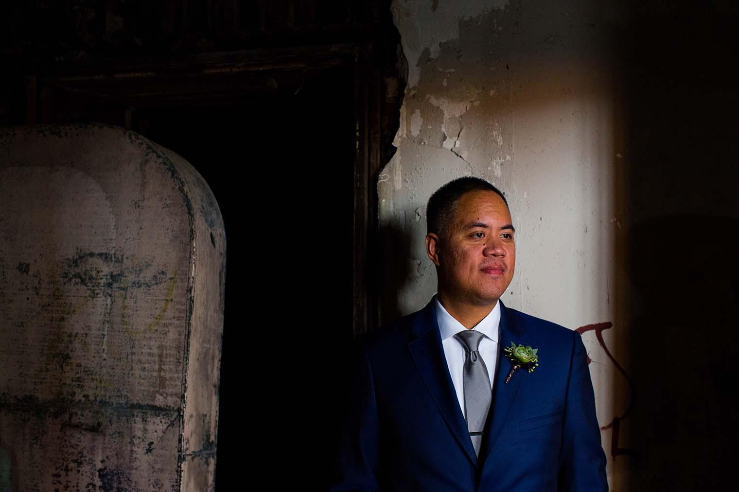 16th Street Station Wedding Portrait of Groom