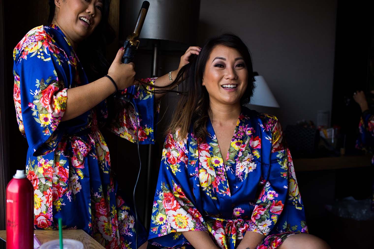 Bride getting ready in Oakland California