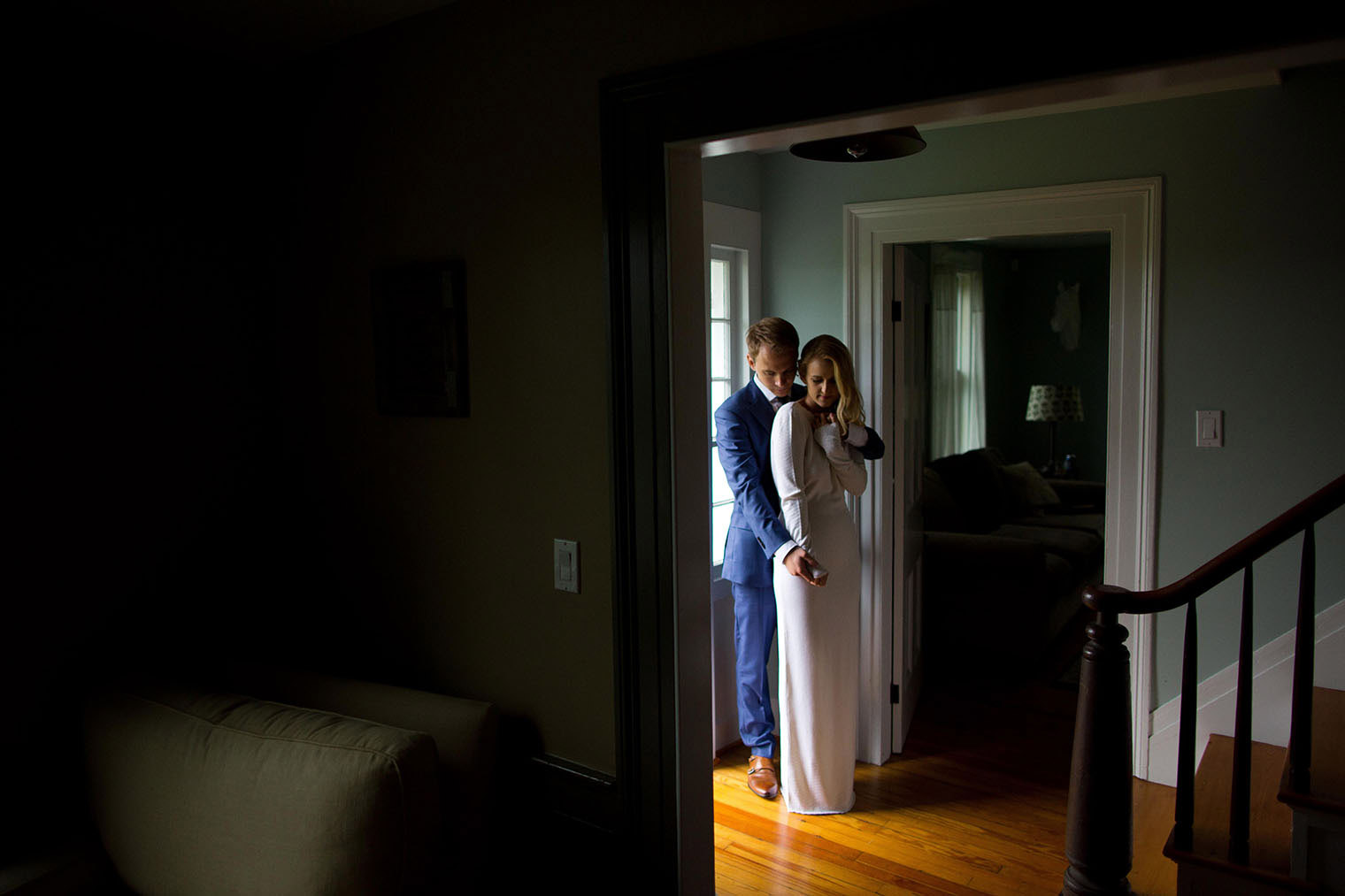 bride and groom portrait at inn at the west settlement