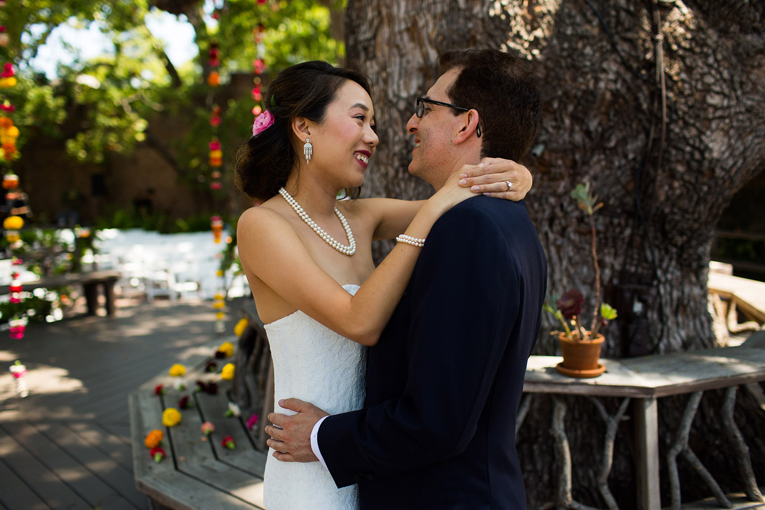 bride and groom at Happy Trails Cafe & Garden