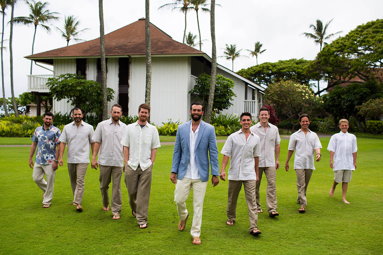 groom and groomsmen at Kiahuna Plantation Resort