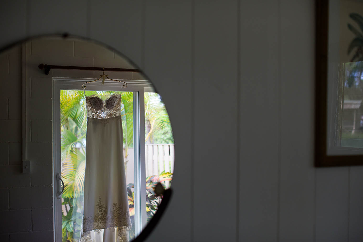 wedding dress at Kekaha Harbor House