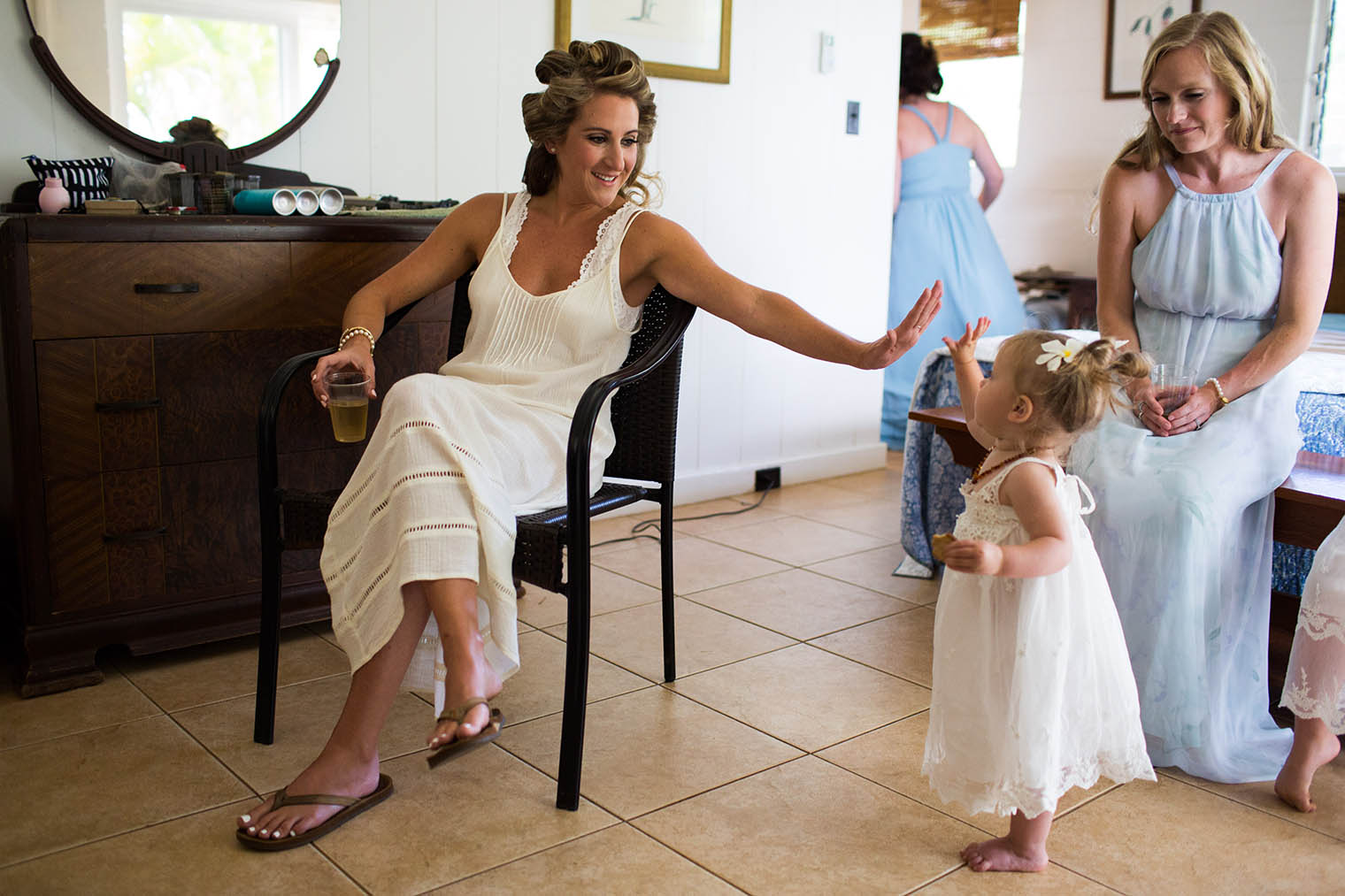 bride and flower girl at Kekaha Harbor House