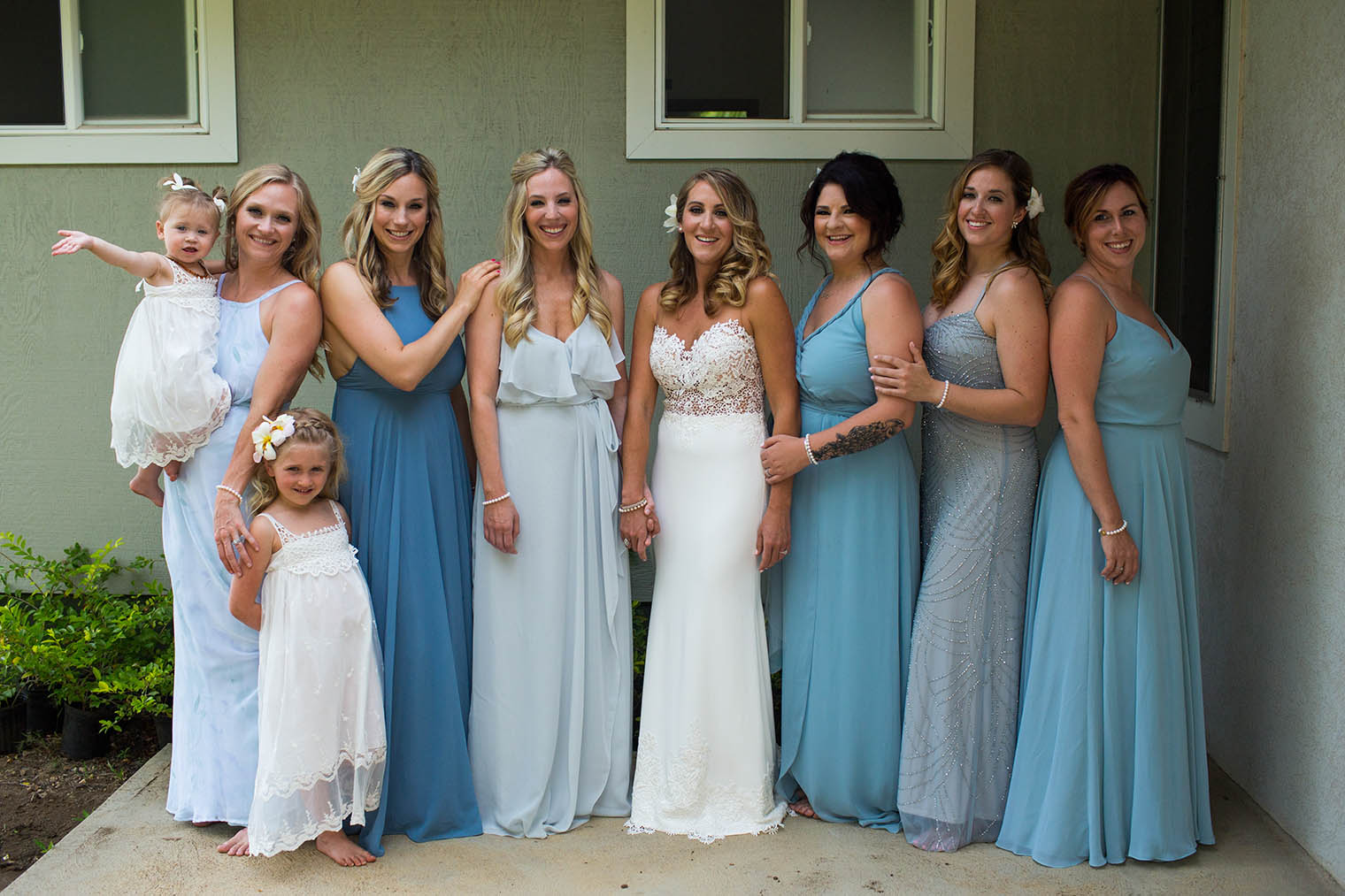 bride and bridemaids at Kekaha Harbor House