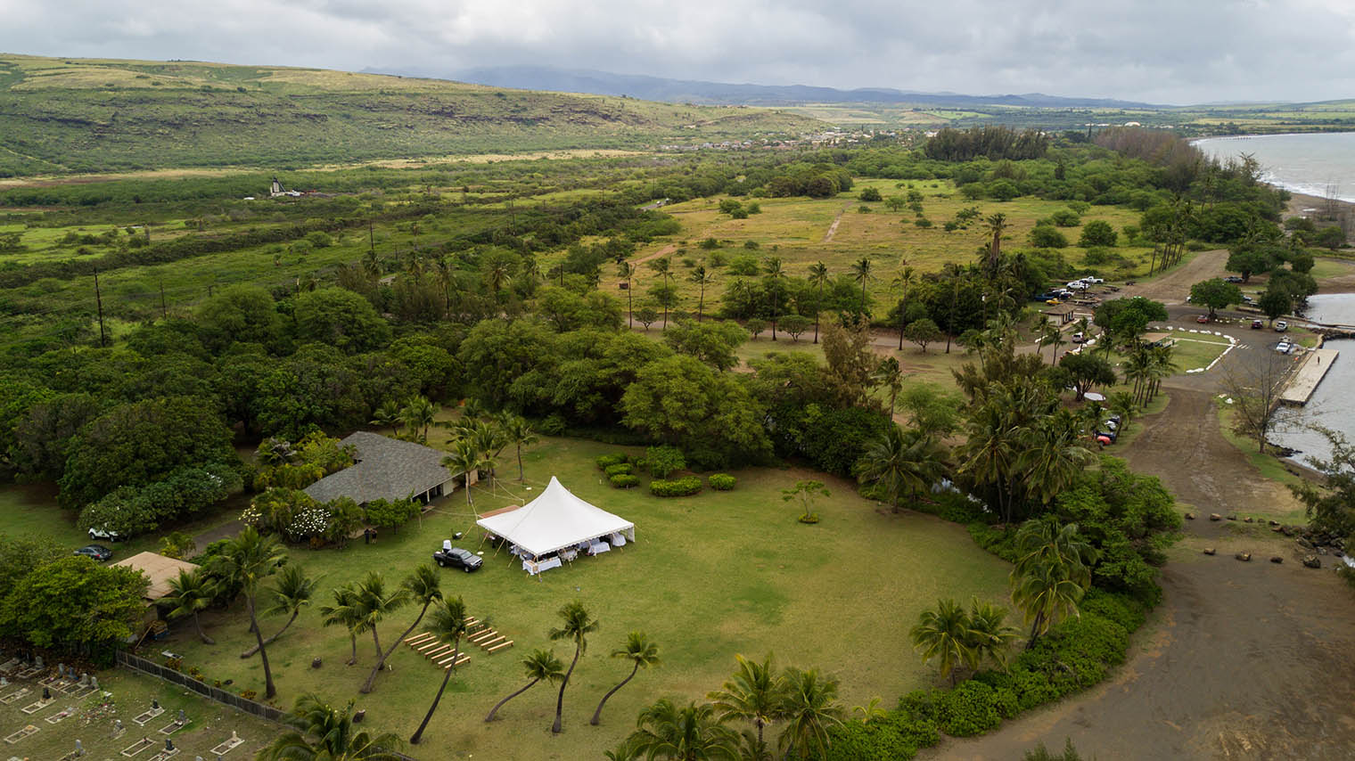 drone photo of Kekaha Harbor House