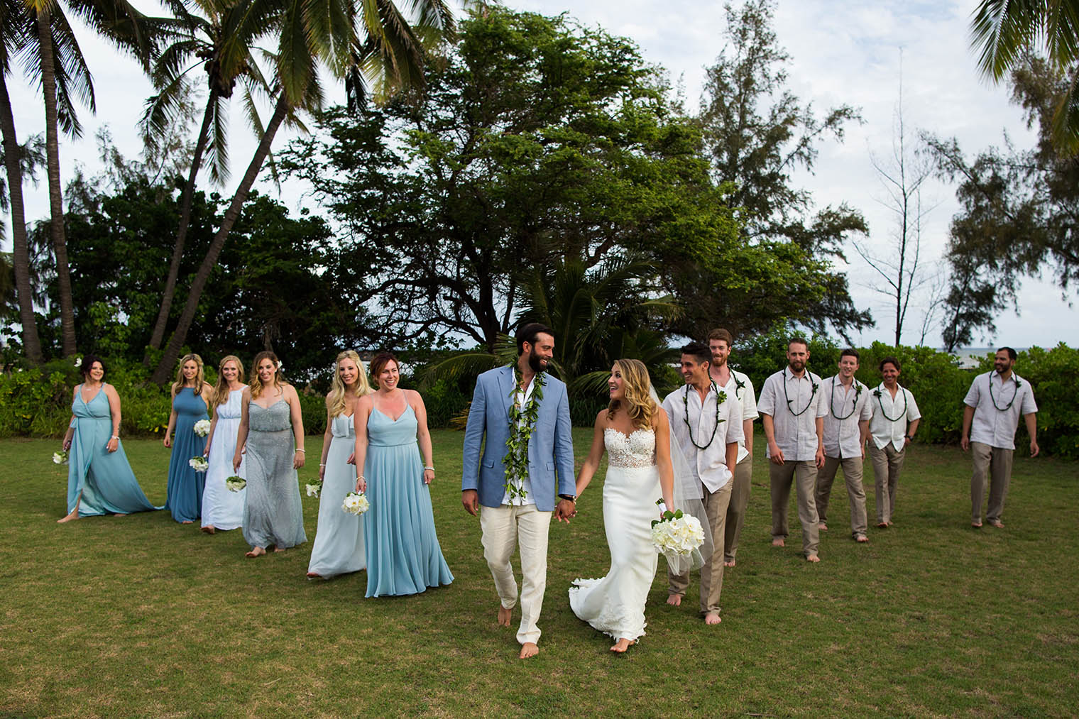 bridal party at Kekaha Harbor House