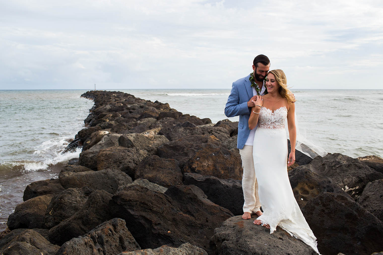 bride and groom portraits at Kekaha Harbor House