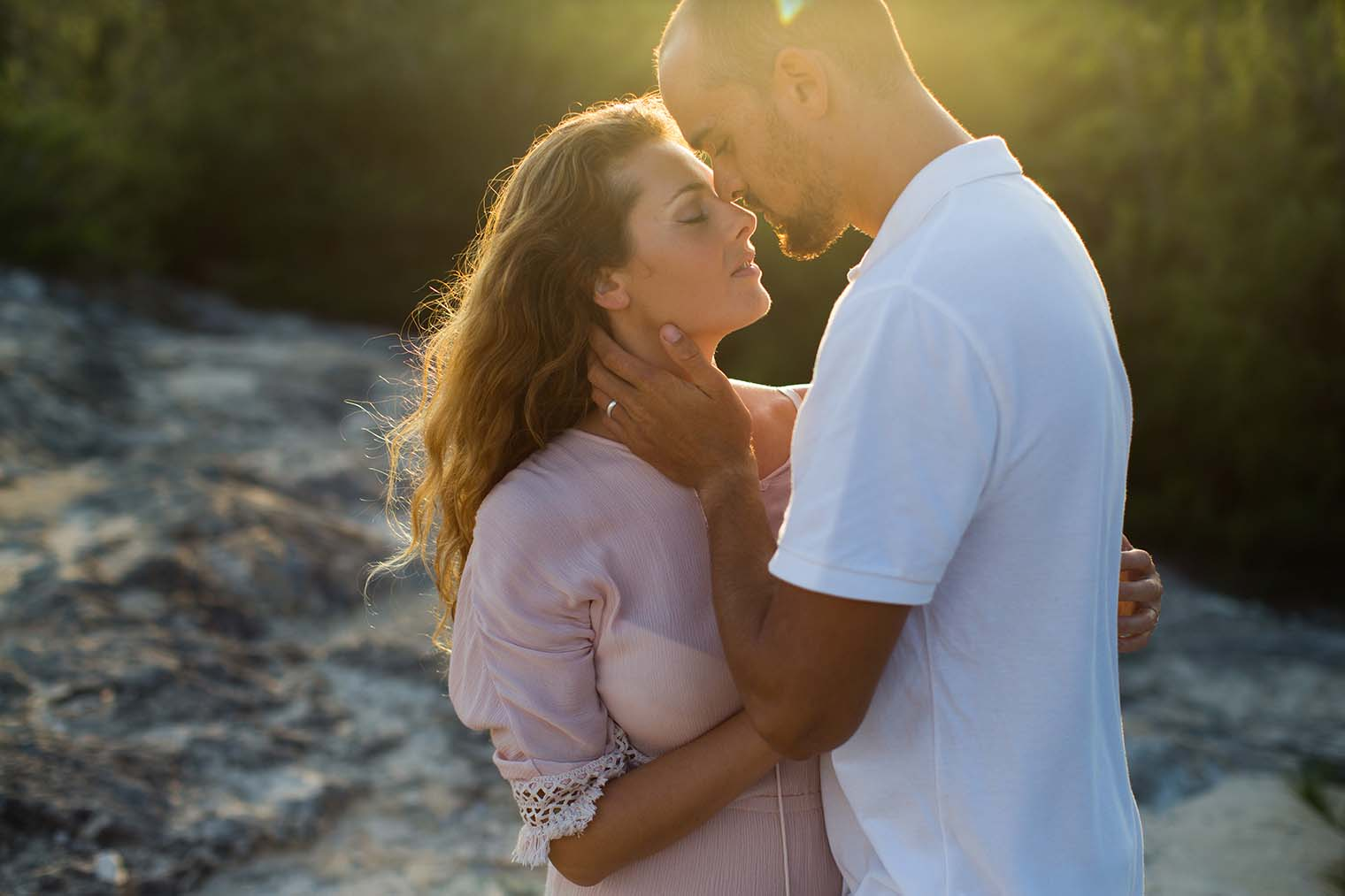 Sunset engagement session at Maha'ulepu Trailhead