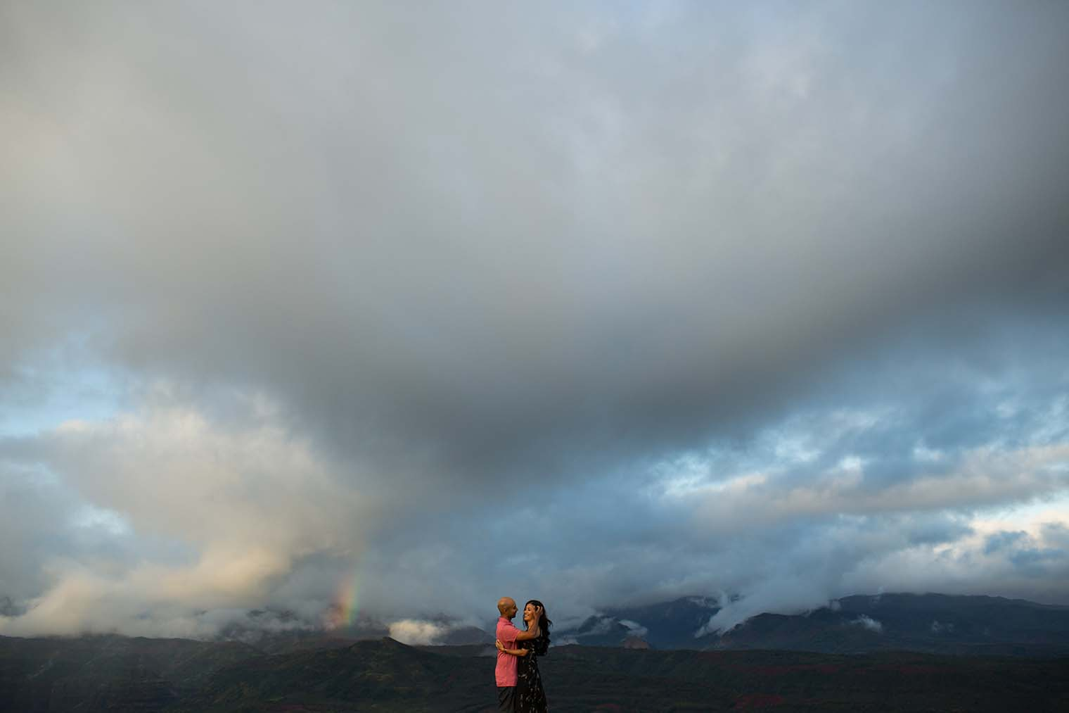 Sunset Engagement Photos at Waimea Canyon in Kauai Hawaii