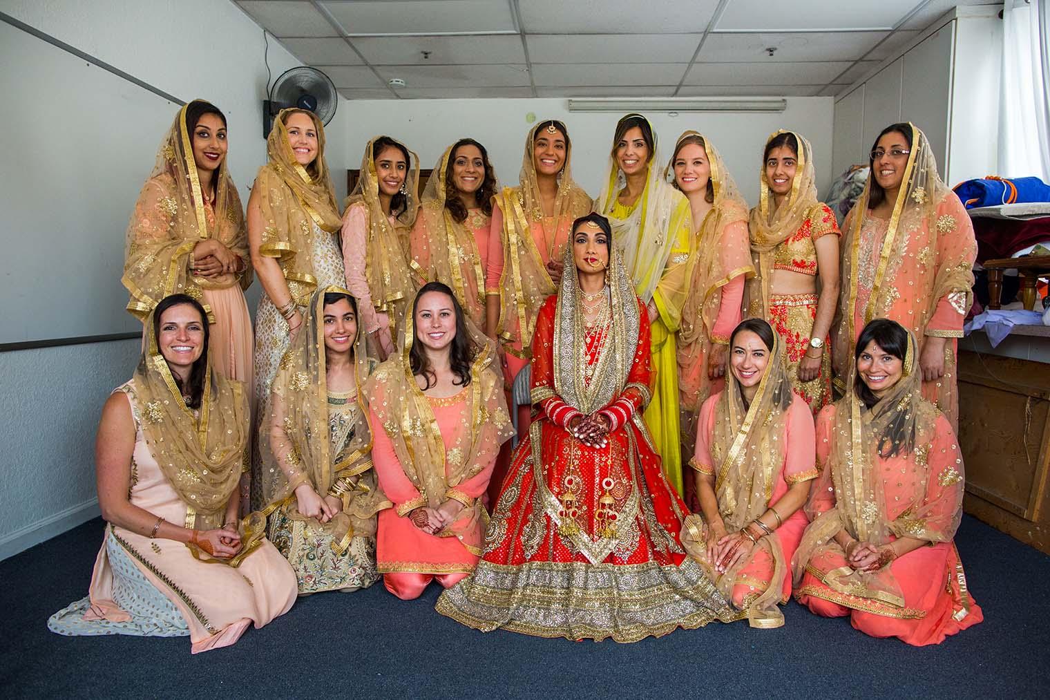 Bride and Bridesmaids at Gurdwara Sahib of Fremont