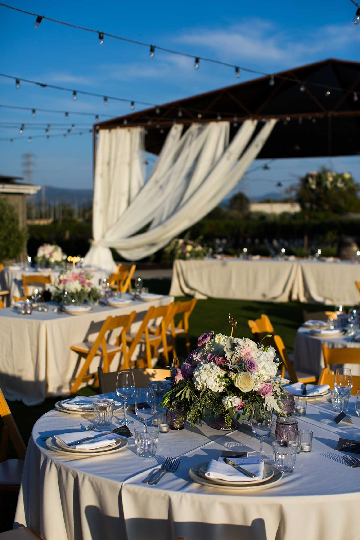 farmstead at long meadow ranch wedding reception details
