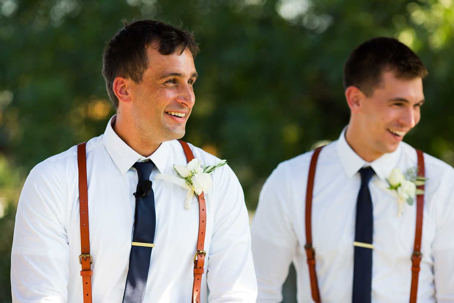 groom reaction at farmstead at long meadow ranch wedding