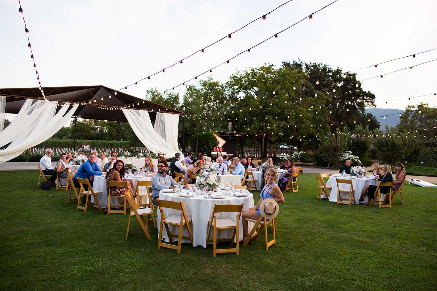 farmstead at long meadow ranch wedding outdoor reception