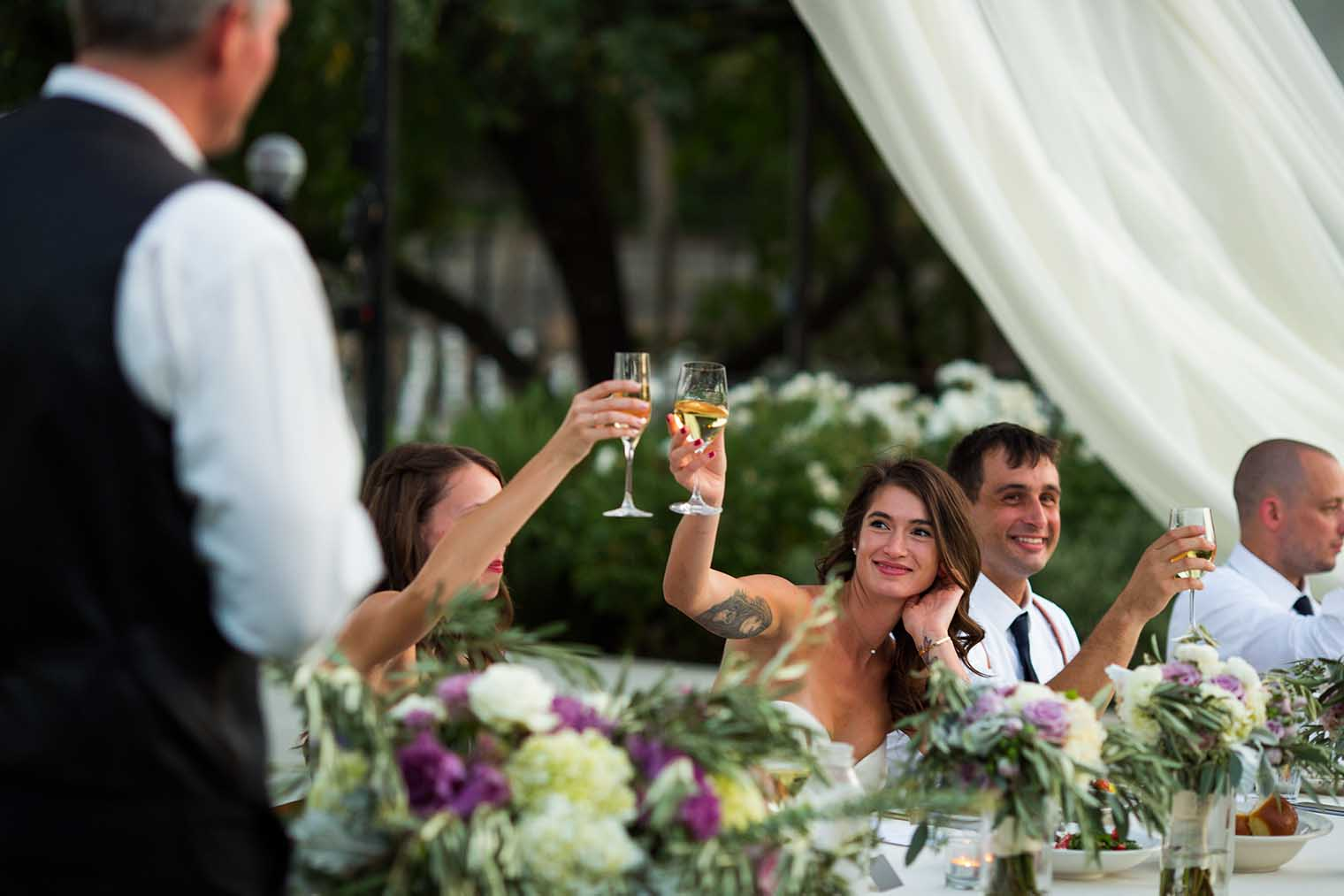 Toasts at Farmstead at Long Meadow Ranch Wedding