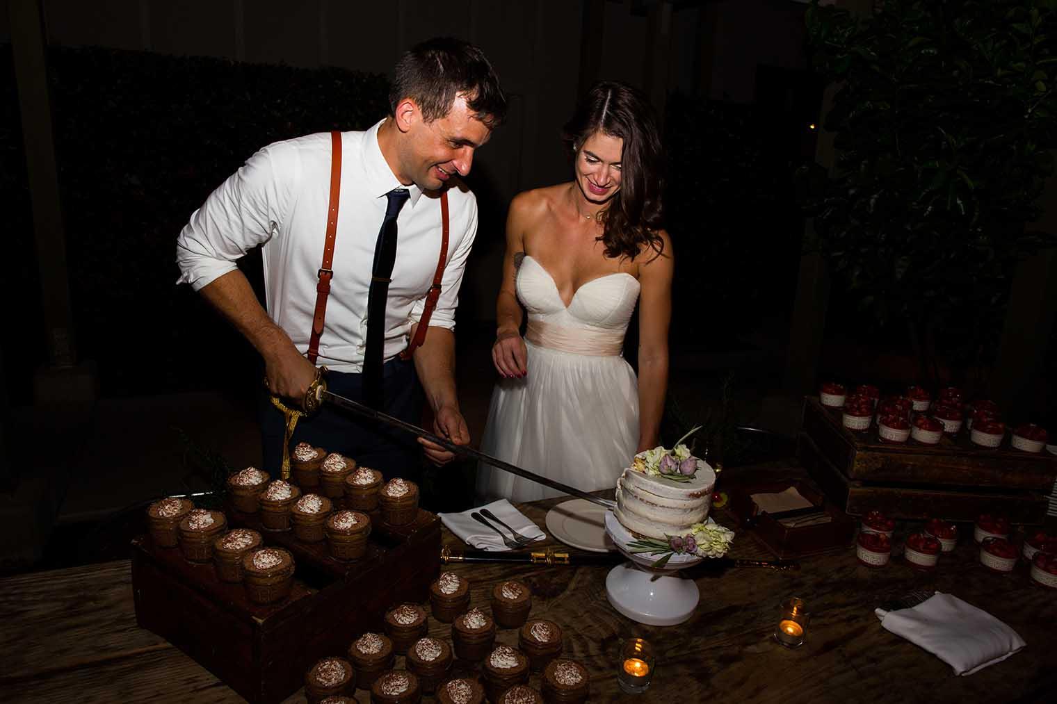 Farmstead at Long Meadow Ranch Wedding Cake Cutting