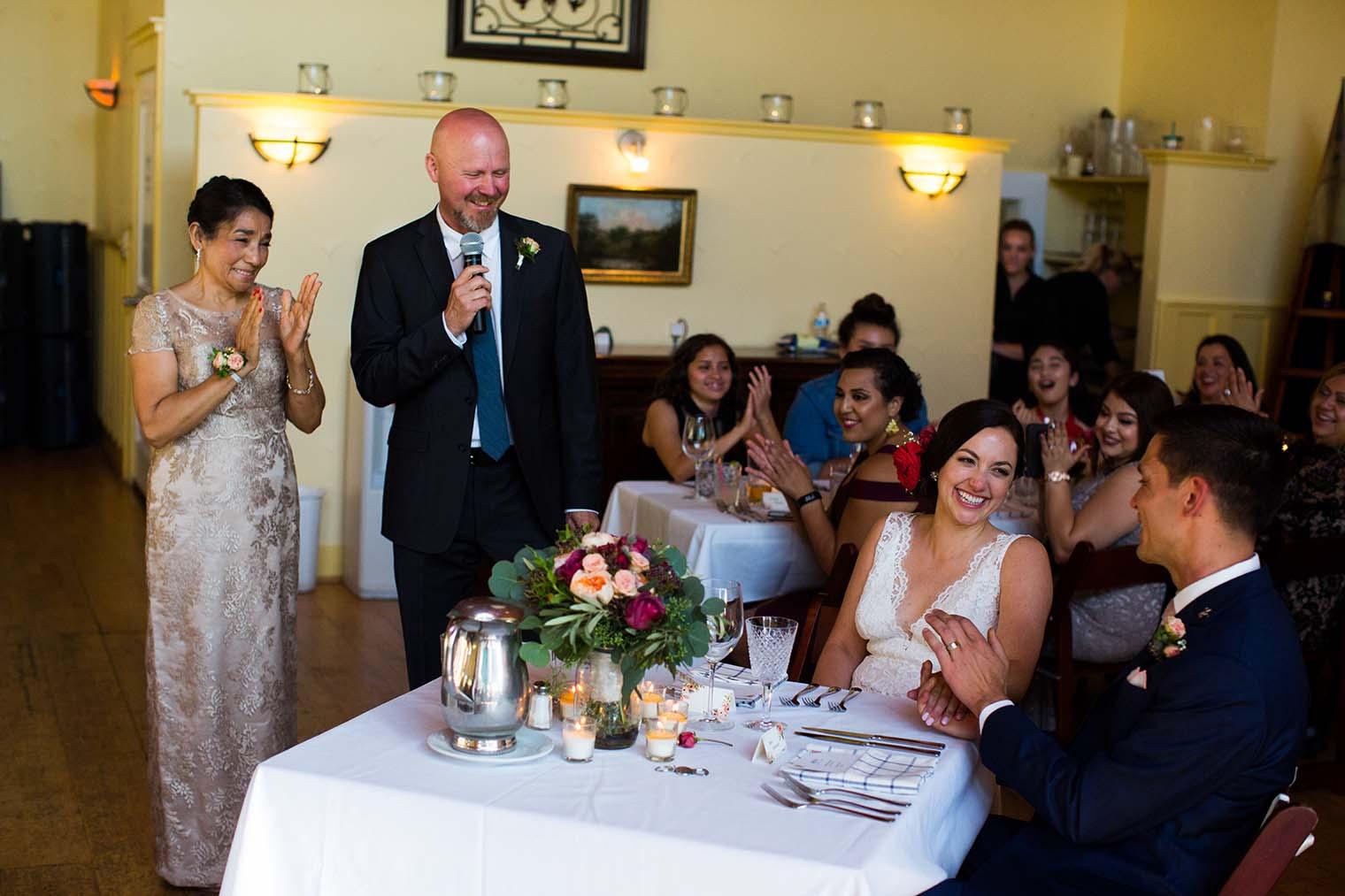 wedding toasts at Highland Dell Lodge