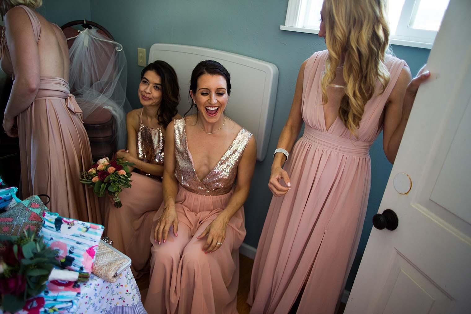 bridesmaids at Saint Teresa of Avila Church in Bodega, CA