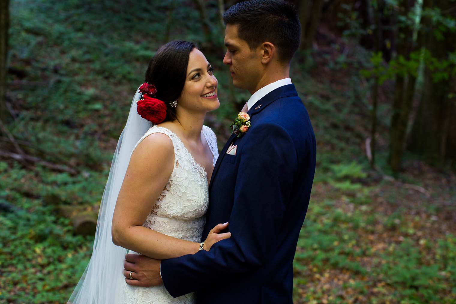 wedding portraits in the forest near Guerneville, CA