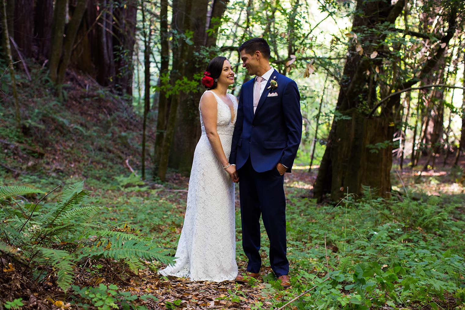 wedding portraits in the forest near Guerneville