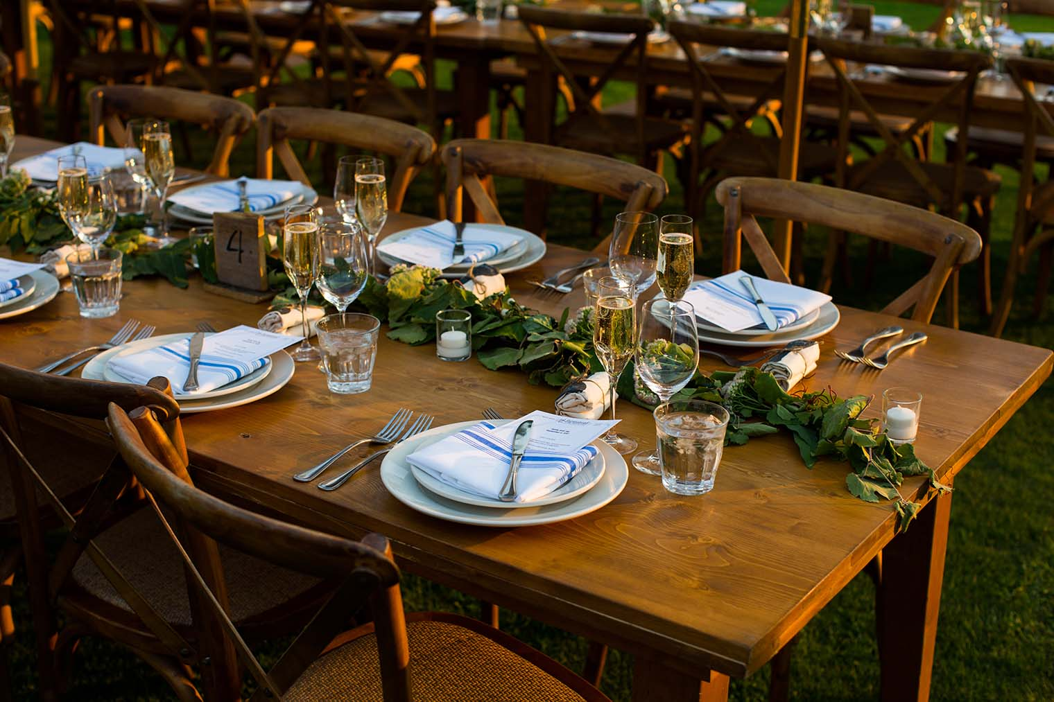 wedding reception details at Farmstead at Long Meadow Ranch