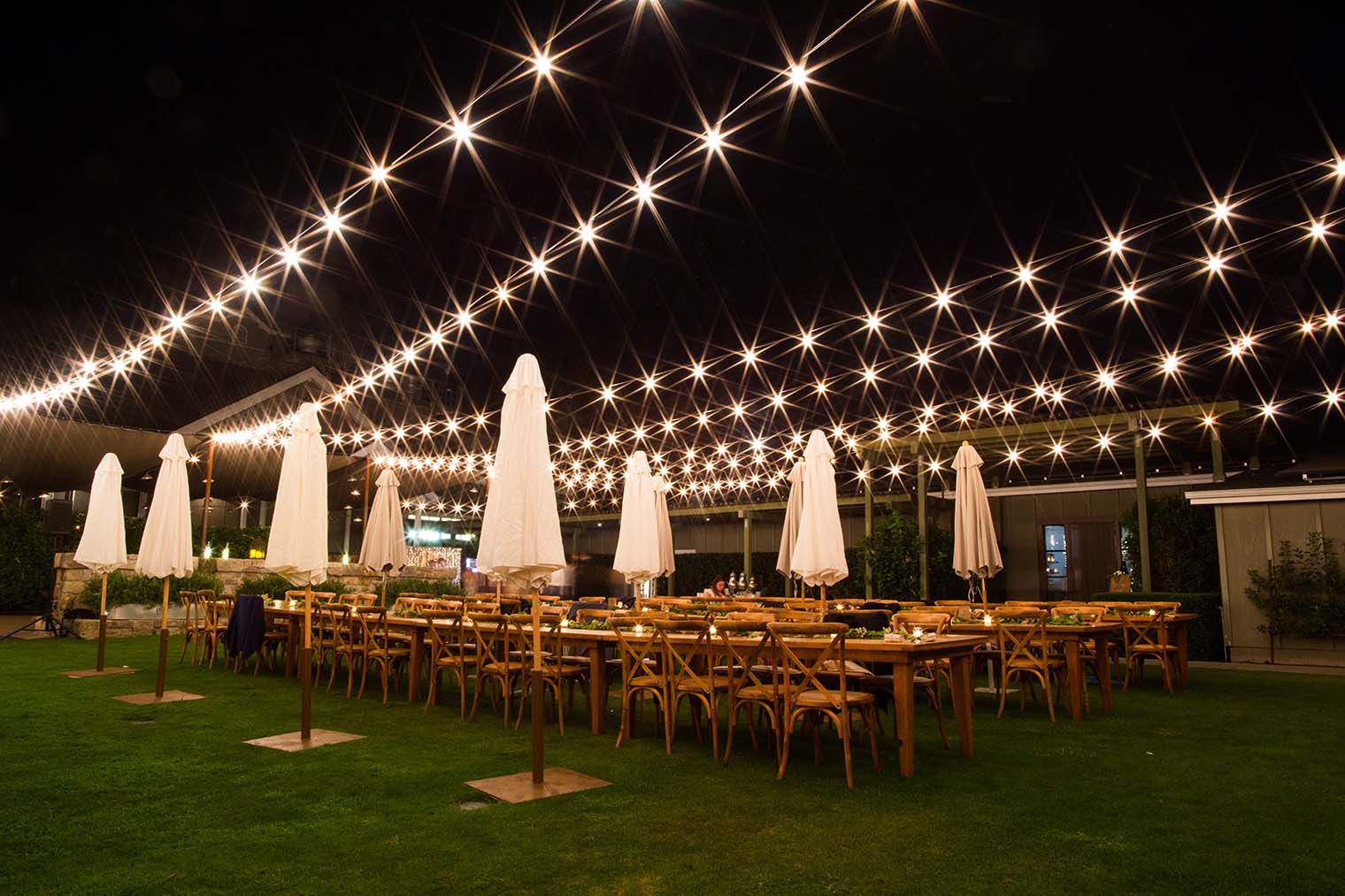 long exposure of wedding reception at Farmstead at Long Meadow Ranch