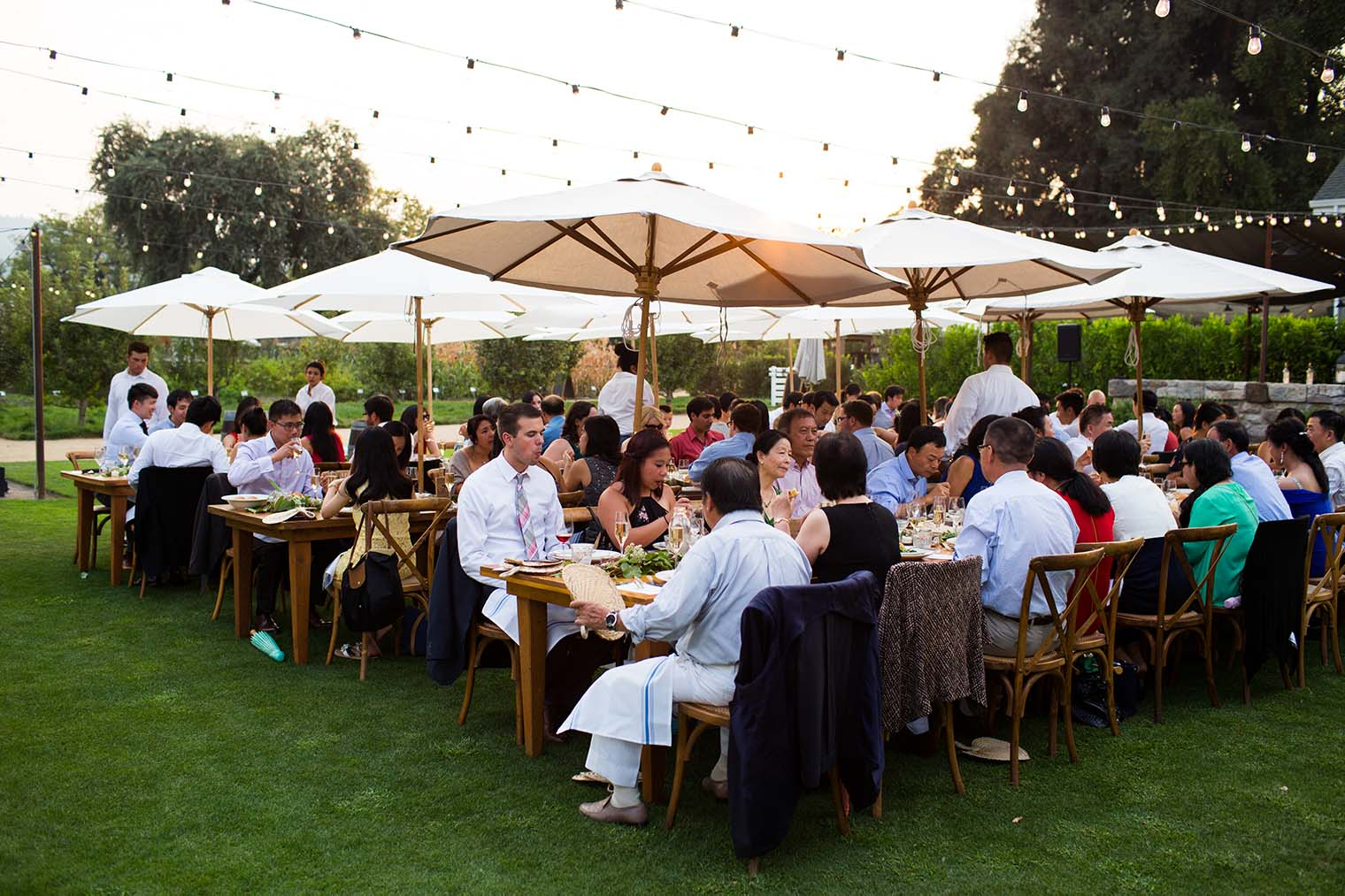 outdoor wedding reception at Farmstead at Long Meadow Ranch
